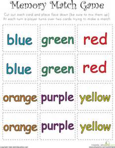 color word memory match worksheet education