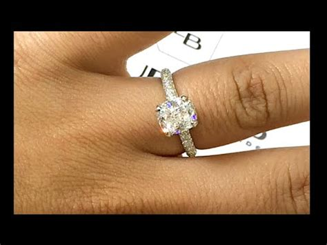 2 0 Carat Engagement Ring by 2 Carat Cushion Cut Engagement Ring In 3 Row Pave