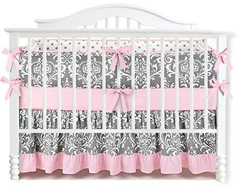 Ruffle Set 7 7 pieces set ruffle grey pink floral baby crib nursery bedding set ruffle sheet 0 baby gears