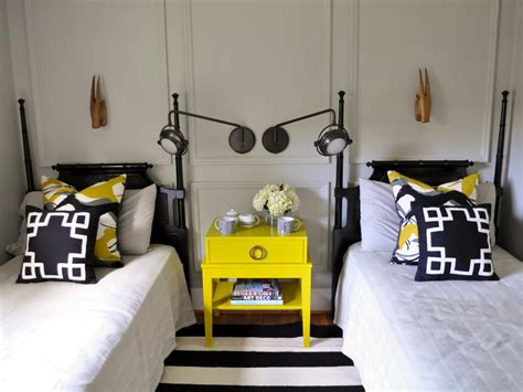 Decorate Guest Bedroom - eclectic black and yellow guest room evaru design hgtv