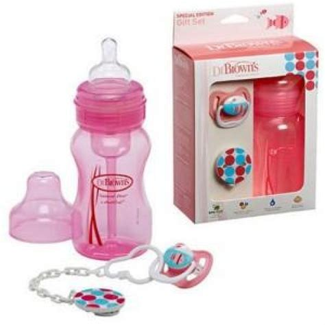 Dr Brown Pink Pacifier Zebra dr brown s gift set wide neck bottle pacifier clip pink dumyah dr brown s
