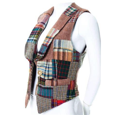 Patchwork Vest - ralph tartan plaid wool patchwork vest antler
