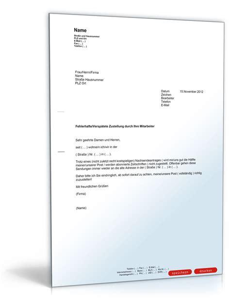 Post Beschwerde Brief Nicht Angekommen Beschwerde Fehlerhafte Postzustellung Muster Vorlage Zum