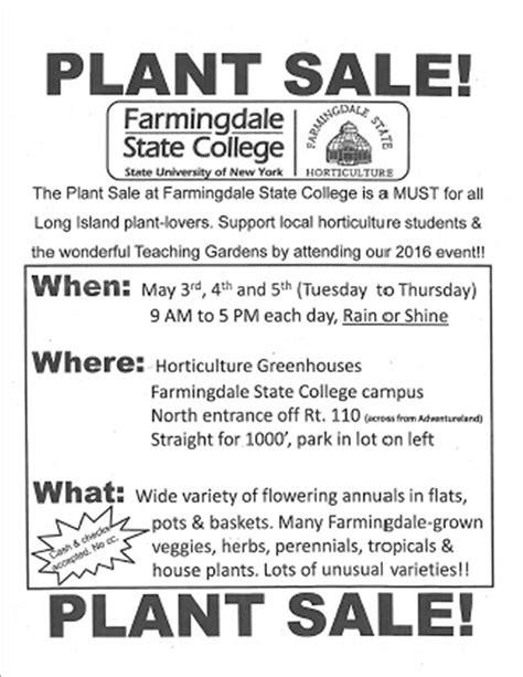 Farmingdale State College Calendar Farmingdale State College Plant Sale 2016