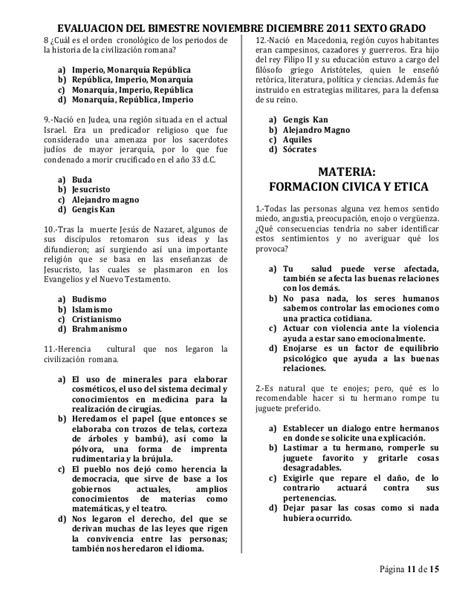 examen de sexto grado de primari primer bimestre 2016 examen bimestral sexto grado bim ii 1