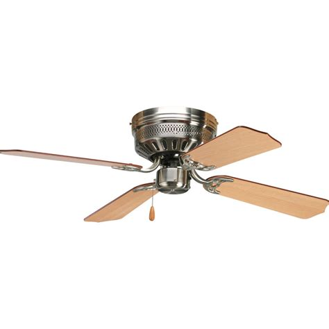 Shop Progress Lighting Airpro Hugger 42 In Brushed Nickel Ceiling Hugger Fans With Lights Lowes