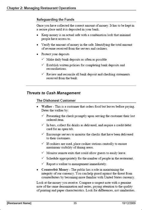 purchasing manual template restaurant manager manual template