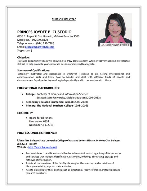 Resume Sample For Job job resume resume cv