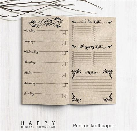 Weekly Insert Regular Size printable midori weekly planner inserts traveler s notebook regular happy digital