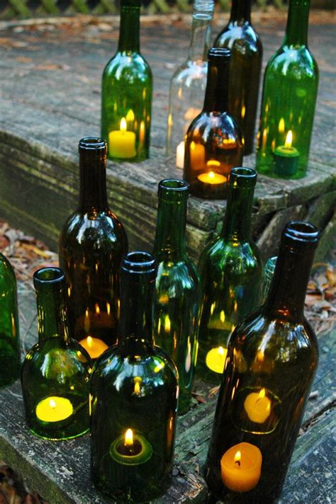 wine bottles with candles in them 1000 ideas about recycled wine bottles on