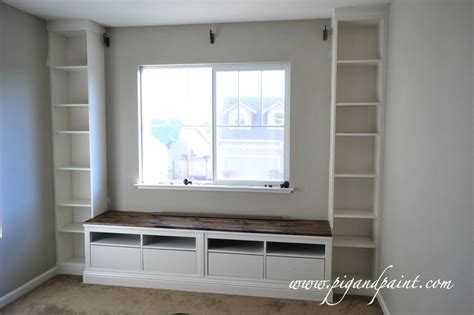 built in bench under window two hemnes ikea tv shelves for seat and billy bookcases on each end my home office
