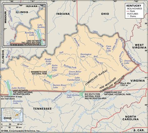physical map of kentucky kentucky physical features encyclopedia