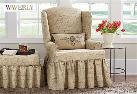 Slipcovers For Chairs And Ottomans Pen Pal By Waverly Wing Chair Slipcover A Playfully Scripted Message Relaxed One