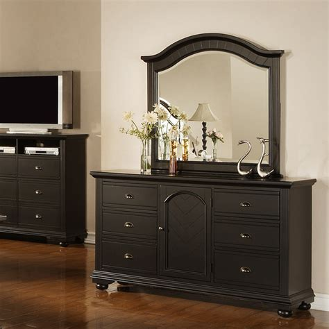 Napa Black Dresser And Mirror Contemporary By