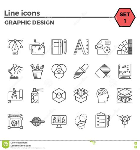 linear layout web design graphic design thin line icons set stock vector image