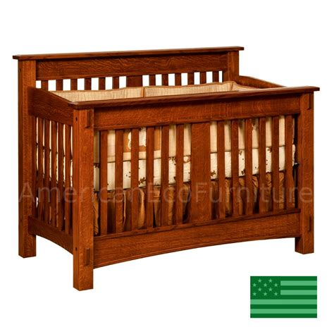 American Crib by Amish Mccoy Convertible Baby Crib Solid Wood Made In Usa
