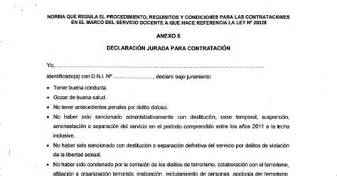 declaracion jurada docente 2016 declaraci 243 n jurada para contrato docente 2016 161 descargar