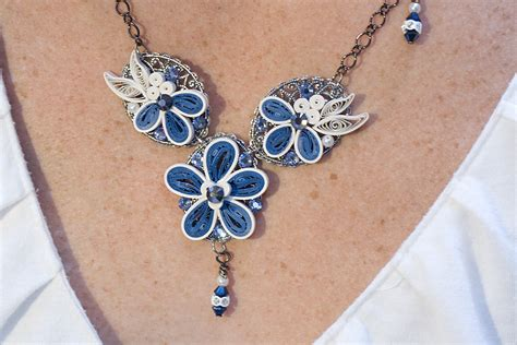 quilling designs appel quilling garden quilled blue malaysian flower necklace