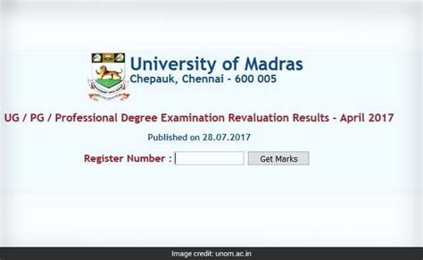 Madras Mba Results April 2017 by Madras Professional Ug Pg Degree Revaluation