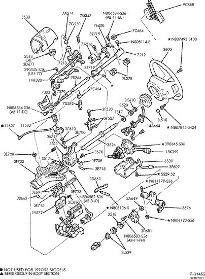 exploded view for the 1997 Ford F 150 Non-tilt | Steering