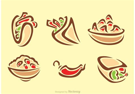 food vector stylish mexican food icons download free vector art