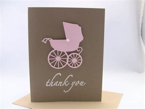 Handmade Baby Thank You Cards - customize any color set of 10 3d handmade baby thank by