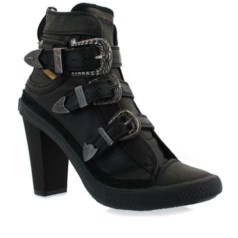 high heel buckle boots diesel exbuckle w high heel trap buckle ankle boots black