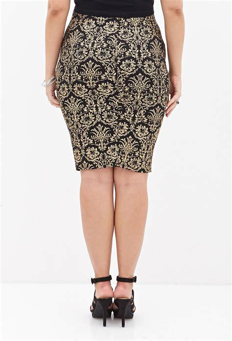 black patterned midi skirt forever 21 baroque patterned midi skirt in metallic lyst