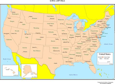 united state map and capitals united states labeled map