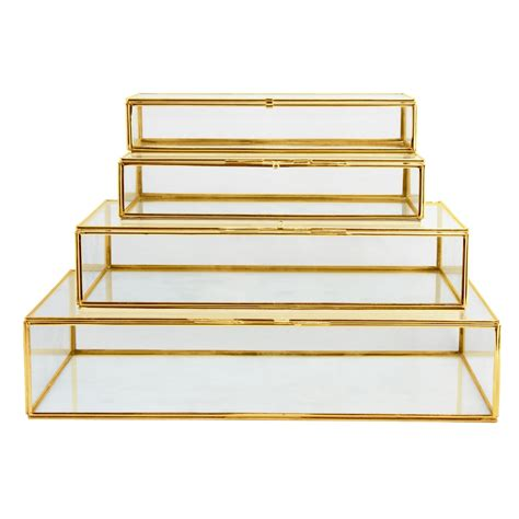 Home Interior Decoration Accessories by Amp K Glass Box Gold Klevering