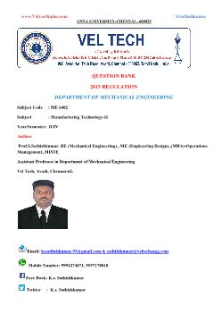 Vel Tech Mba by Me6402 Manufacturing Technology Ii Qb Question Bank Prof