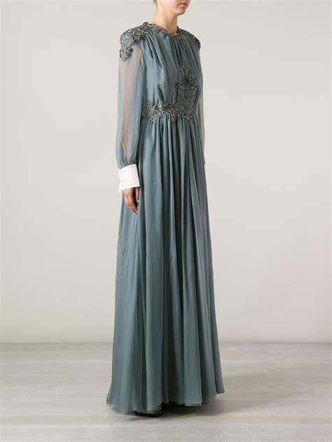 Valentino Maxy valentino embellished maxi dress in gray lyst