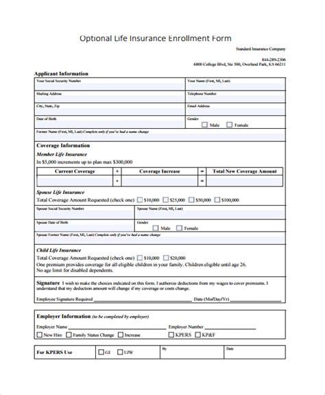 Insurance Enrollment Form Template 9 Sle Enrollment Forms Sle Templates