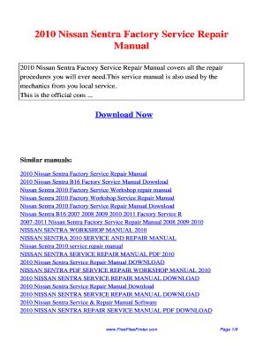 2010 Nissan Sentra Service Manual Fill Online Printable