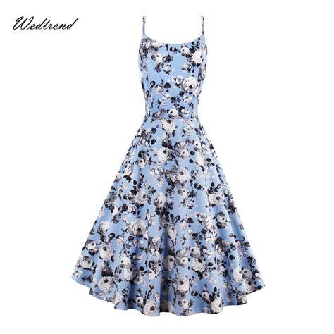 Blue Flower Retro Cheongsam Dress Vintage Import Fashion Wanita Korea wedtrend 1950s fashion dress vintage o neck light blue
