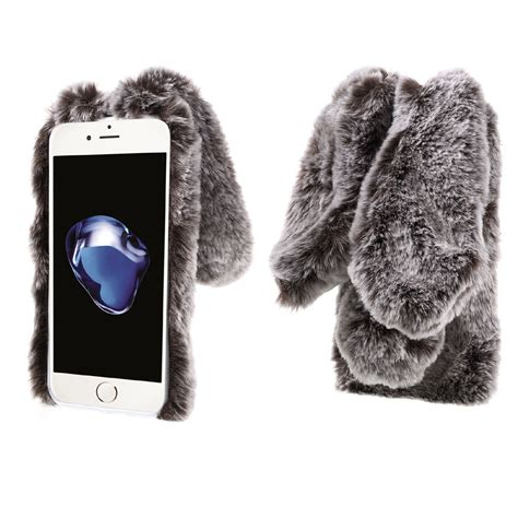 bunny shape warm rabbit fur tpu soft cover