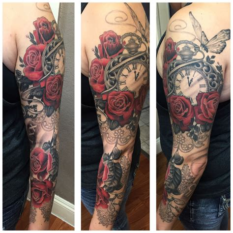 black and grey rose sleeve tattoo pocket butterfly roses black and gray