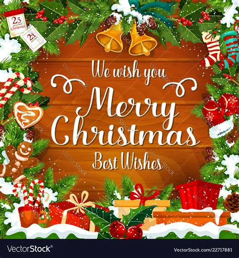 merry christmas wishes greeting card royalty  vector
