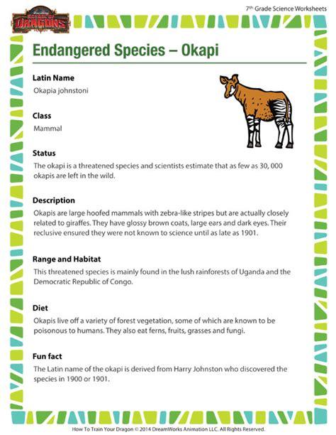 Endangered Species Worksheet by Endangered Species Okapi Worksheet Middle School
