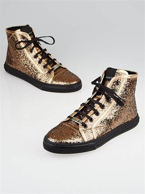 gucci california high top sneakers gucci copper glitter california high top sneakers size 11
