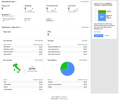 adsense testing new home page design