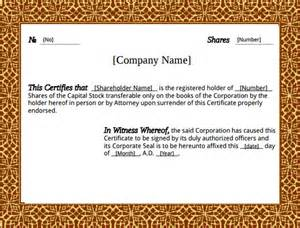 Corporation Stock Certificate Template by Stock Certificate Template 21 Free Word Pdf