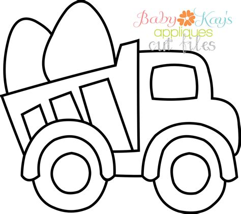 Truck Outline by Cut File Egg Dump Truck Outline Baby S Appliques