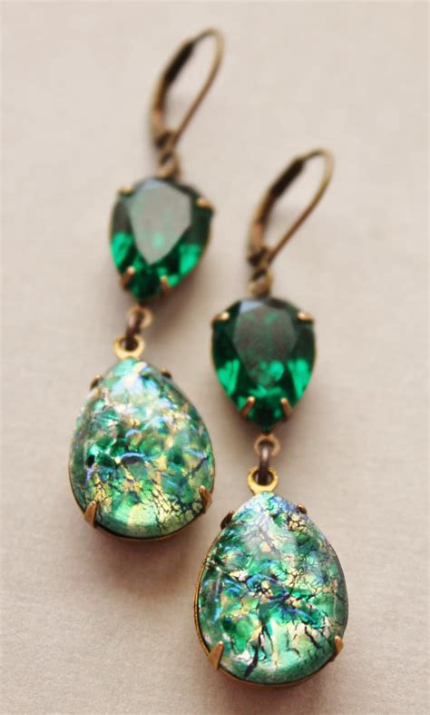 green opal earrings vintage emerald opal earrings emerald green glass fire