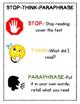 stop reading a strategy to read less and comprehend more books guided reading stop think paraphrase poster and