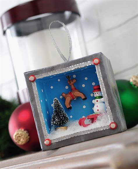 holiday shadowbox ornament with mini action mod podge rocks