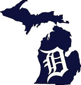 "detroit tigers old english ""d"" state of michigan vinyl"