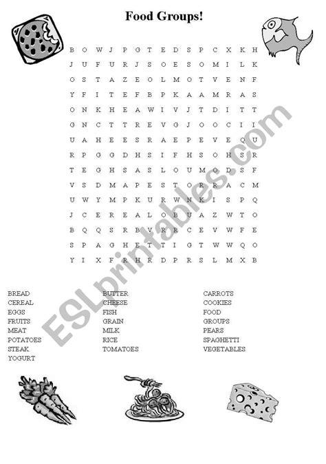 food groups wordsearch - ESL worksheet by ydroj