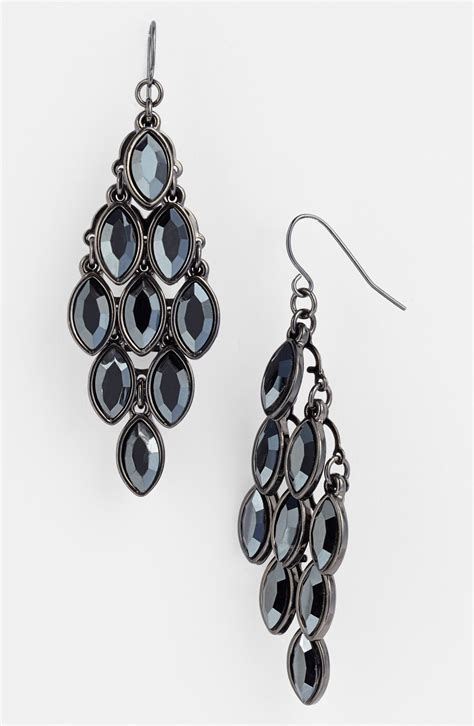 Gunmetal Chandelier Earrings Chandelier Earrings In Gray Hematite Gunmetal Lyst