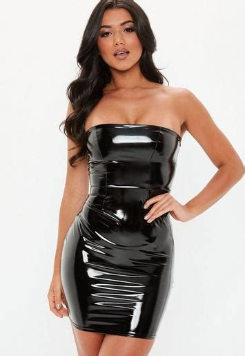 black bandeau vinyl mini dress missguided